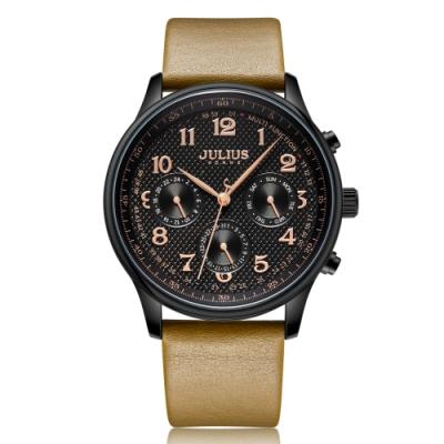 JULIUS聚利時 風雅絕倫三眼皮革錶帶手錶-四色/41mm