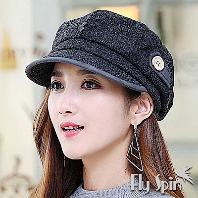 FLYSPIN 韓版女款羊毛呢混紡保暖八角南瓜貝蕾軟眉帽