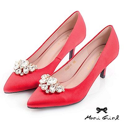 Mori girl 2WAY可拆式水鑽緞面中低跟鞋 紅
