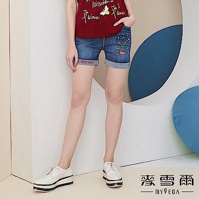 【麥雪爾】棉質率性英文印花牛仔短褲