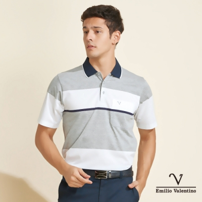 Emilio Valentino范倫鐵諾時尚簡約橫紋POLO衫_白/灰(21-V3815)