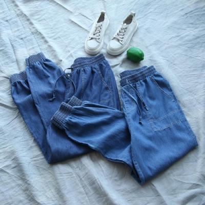 薄版天絲棉休閒顯瘦哈倫束腳長褲-設計所在