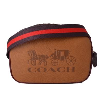 COACH壓印馬車柔軟荔枝牛皮拉鍊斜背撞色MINI腰包-咖啡x布朗