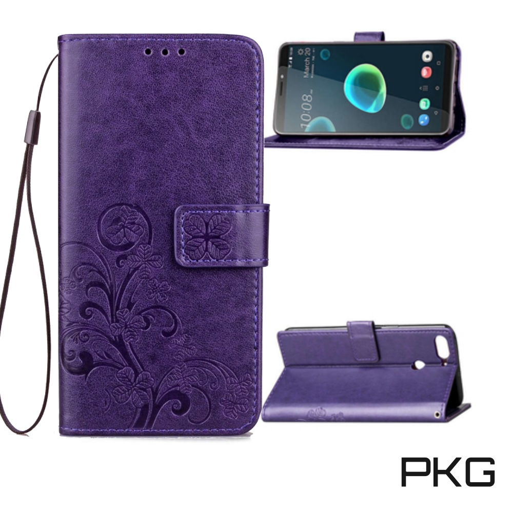 PKG HTC Desire12 Plus側翻式皮套-精選皮套系列-幸運草