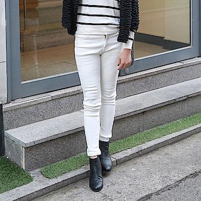 暖膚搖粒絨複合彈性窄管褲‧3色-OB大尺碼