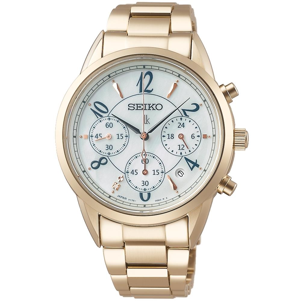 SEIKO精工 LUKIA 太陽能真鑽三眼計時腕錶-36.4mm(V175-0EX0U/SSC794J1)