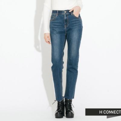 H:CONNECT 韓國品牌 女裝- 微彈直筒刷色牛仔褲-淺藍