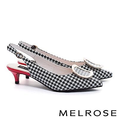 高跟鞋 MELROSE 簡約質感弧形金屬方釦羊皮尖頭高跟鞋-格紋