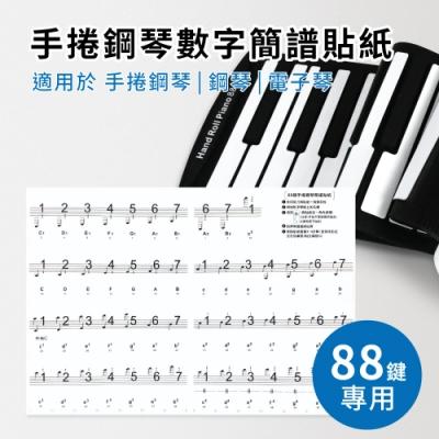 88鍵數字簡譜貼紙(適用於88鍵手捲鋼琴 電子琴 電鋼琴 鋼琴)