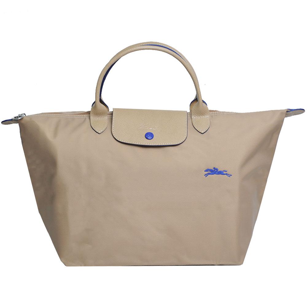 Longchamp 經典Collection系列刺繡摺疊拉鍊中型尼龍水餃包(卡其色系)