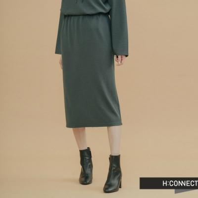 H:CONNECT 韓國品牌 女裝- 後開岔鬆緊中長裙-綠