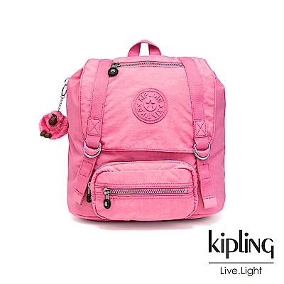 Kipling 甜美糖果粉雙扣翻蓋束口後背包-JOETSU S