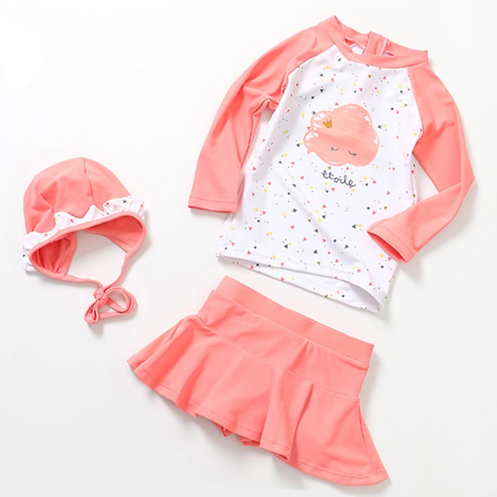 JoyNa 兒童泳衣公主裙式防曬三件套組