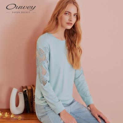 OUWEY歐薇 織帶花朵縷空彈性長袖上衣(水)