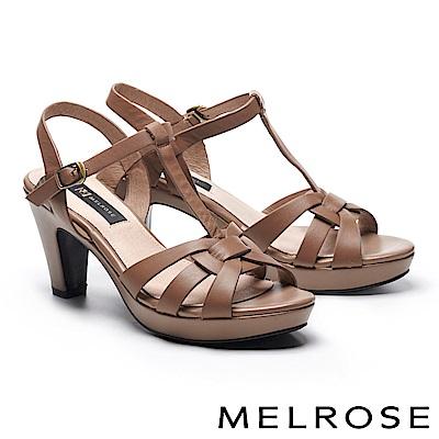 涼鞋 MELROSE 羅馬風格牛皮T字美型高跟涼鞋-可可