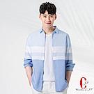 Christian質感型男休閒百搭長袖襯衫_藍白(RW808-53)