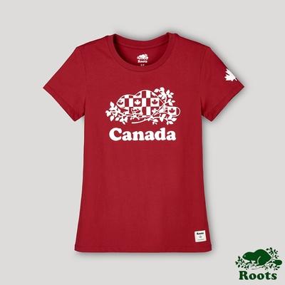 Roots女裝-愛最大加拿大日系列 國旗海狸短袖T恤-紅色