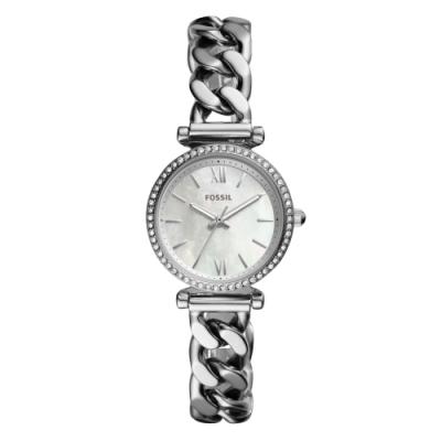 FOSSIL  晶耀情緣貝殼面腕錶-銀(ES4689)/28mm