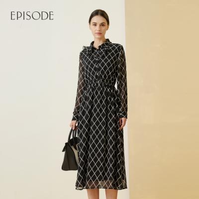 EPISODE - 浪漫飄逸柔軟輕薄荷葉邊雪紡長洋裝(黑)