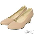 Ann'S通勤魅力-精品小羊皮楔型坡跟尖頭包鞋-杏