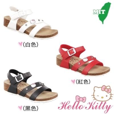 (雙11)Hello Kitty童鞋 一字減壓楔型涼鞋-紅.白.黑