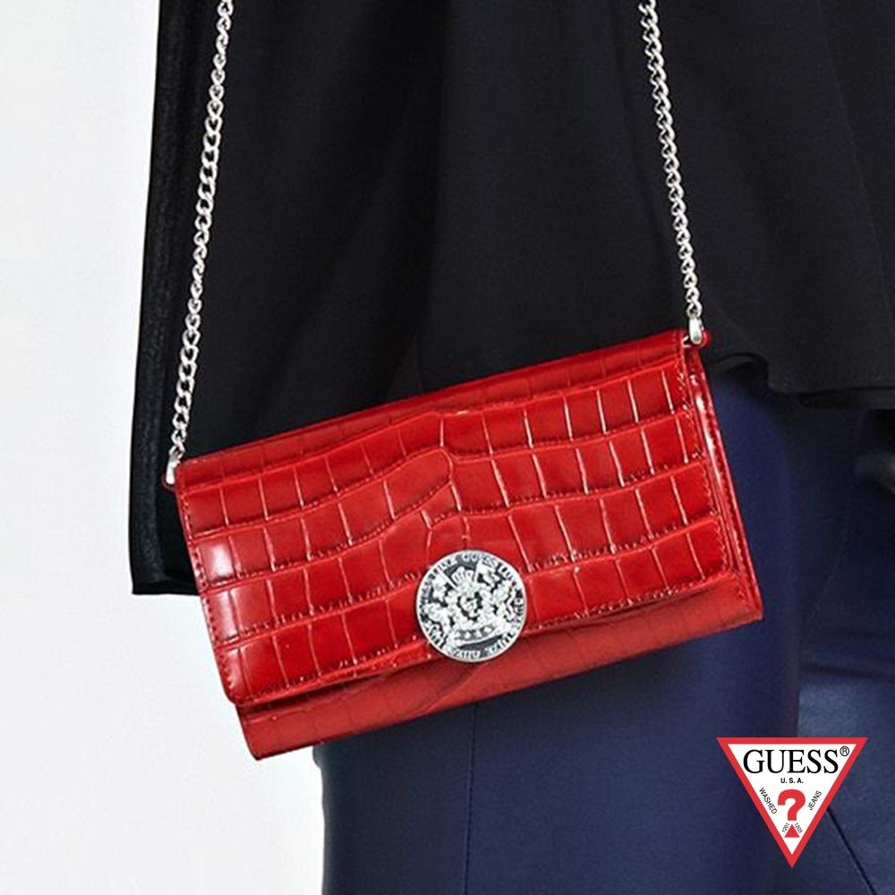 GUESS-女包-鱷魚壓紋真皮鍊條錢包-紅