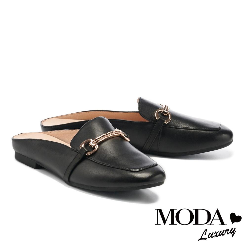 穆勒鞋 MODA Luxury 文青質感全真皮金釦方頭平底穆勒拖鞋-黑