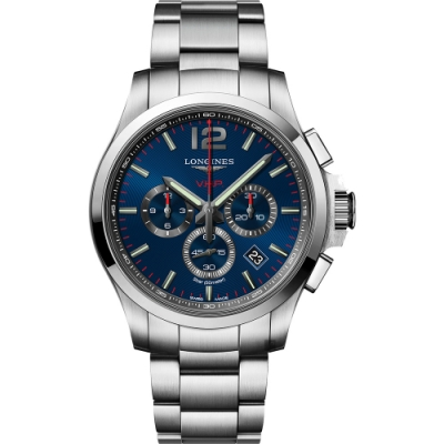 LONGINES浪琴 征服者系列V.H.P.萬年曆計時手錶-藍x銀/43mm