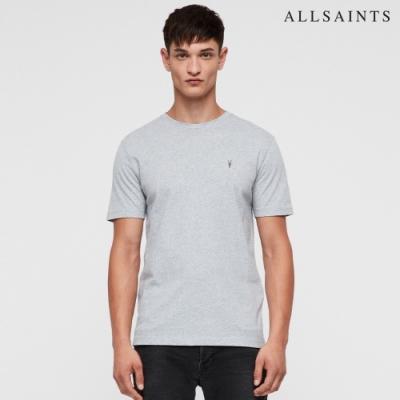 ALLSAINTS BRACE TONIC 公羊頭骨刺繡純棉修身短袖T恤-淺灰