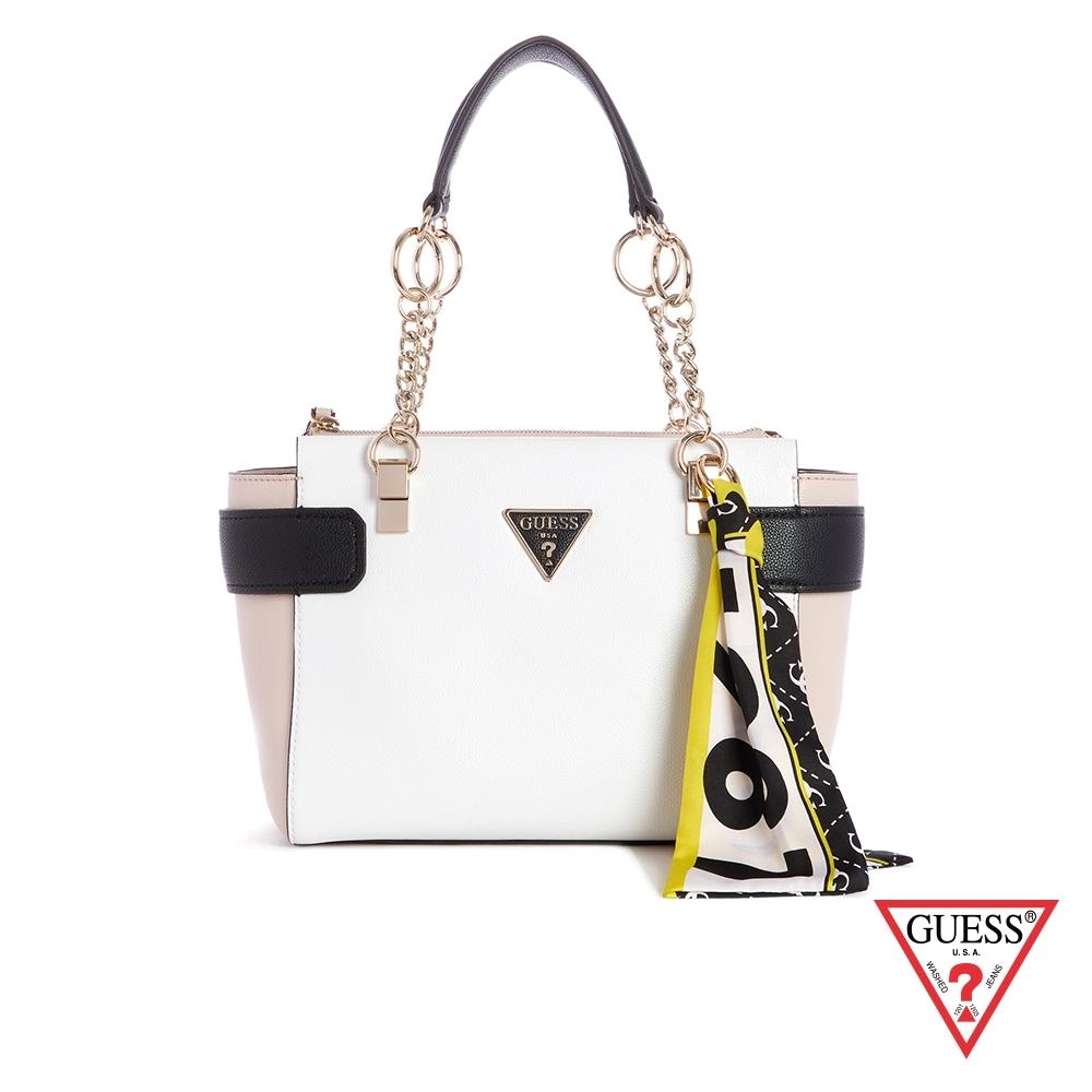 GUESS-女包-撞色經典倒三角LOGO手提包-白 原價3890