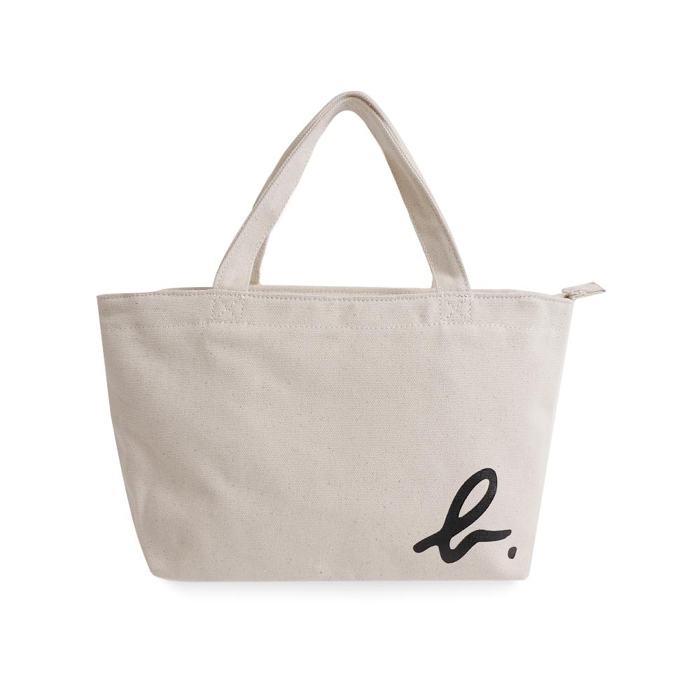 agnes b. Voyage 長型邊角b logo棉質手提袋(白)