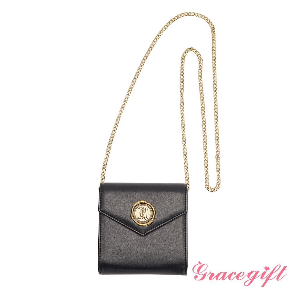 Grace gift-哈利波特霍格華茲信封2WAY卡夾鍊條包 黑