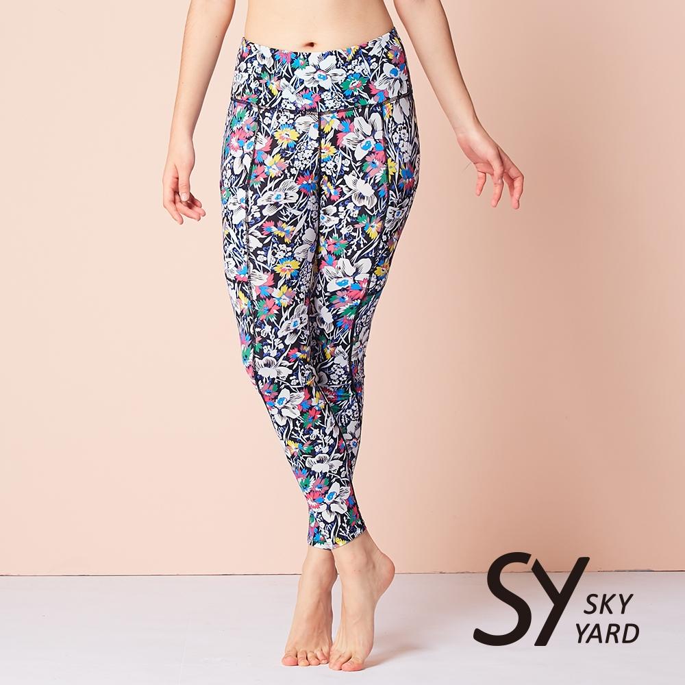 【SKY YARD 天空花園】熱銷-輕度機能緊身運動長褲-花卉黑