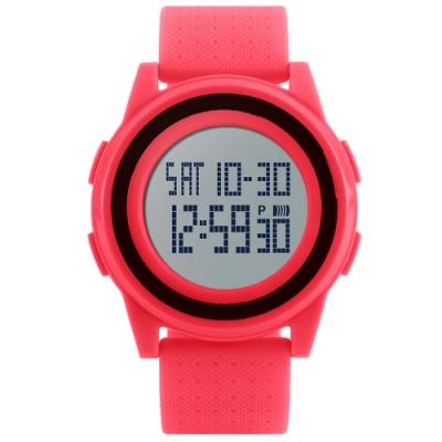 Mirabelle雙框炫色 LED鬧鐘防水矽膠手錶 紅帶黑框45mm