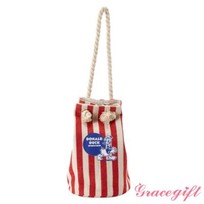 Disney collection by gracegift粗繩束口帆布水桶包 條紋