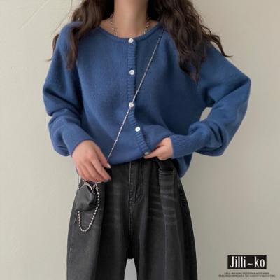 JILLI-KO 純色短款針織開扣外套- 藍/杏/紫