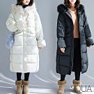 SQUA 裝飾拉鍊鋪棉連帽外套-二色-(L/XL)