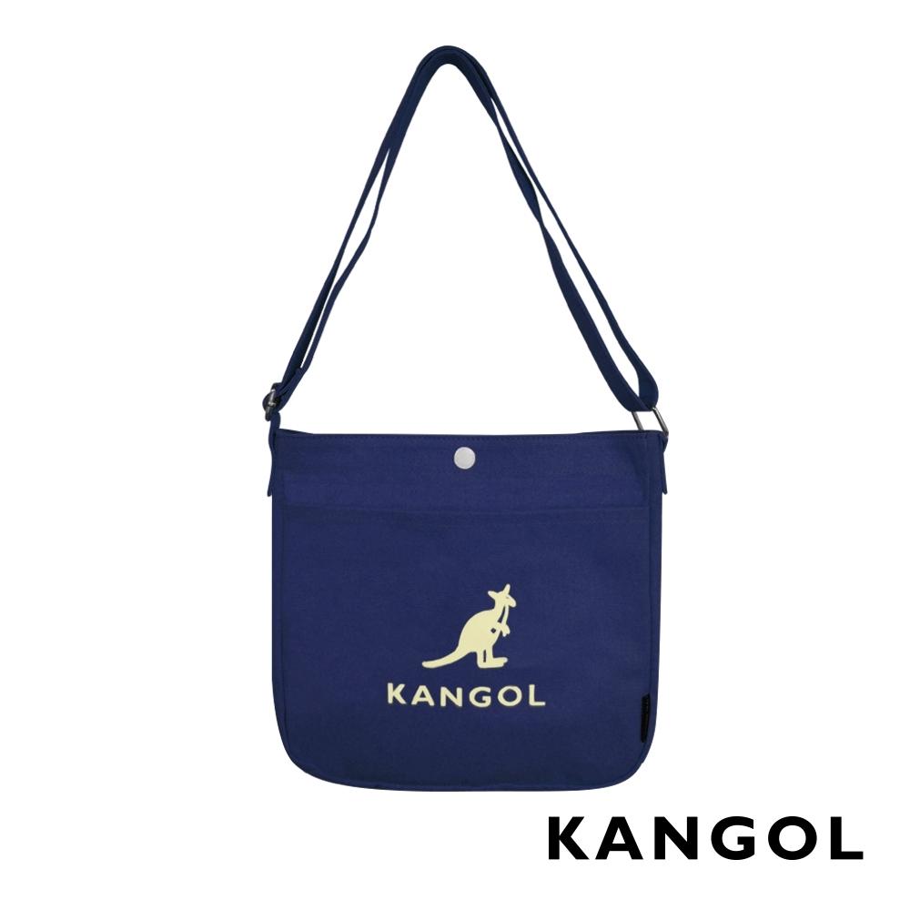KANGOL 韓版玩色-帆布斜背文青小書包-深藍 AKG1213-08