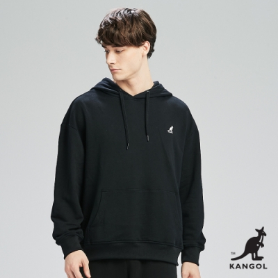 【KANGOL】Oversize落肩設計小LOGO設計連帽上衣/帽T-男-黑