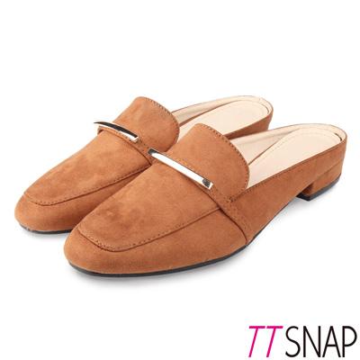 TTSNAP穆勒鞋-金屬俐落線條半拖方頭鞋 棕
