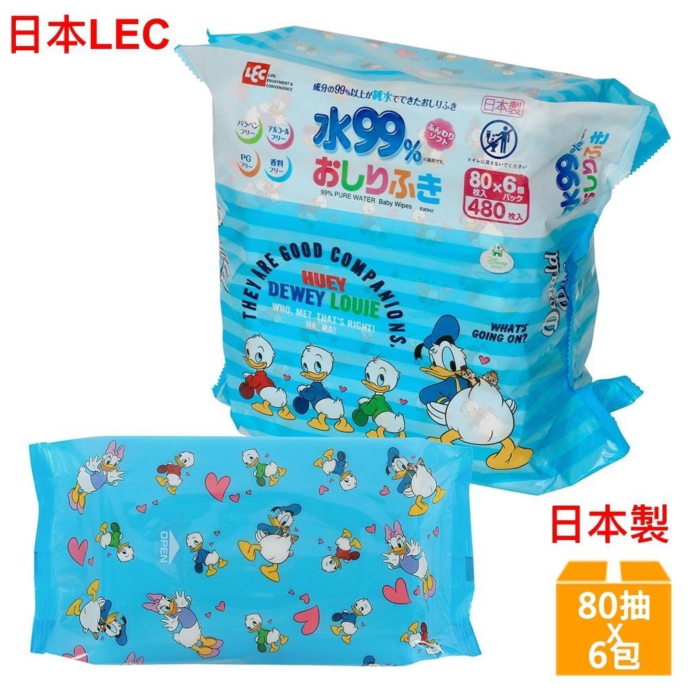 日本LEC 迪士尼唐老鴨-純水99%濕紙巾-80抽x6包入
