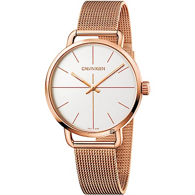 Calvin Klein CK Even 超然系列十字線米蘭帶手錶-銀x玫瑰金/42mm
