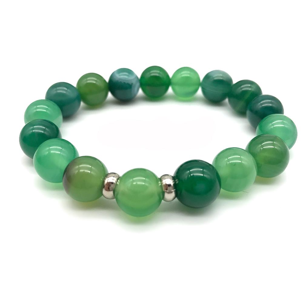 Hera 赫拉 鼓舞人心天然綠條紋玉隨手鍊(10mm)