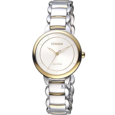 CITIZEN星辰L系列純粹風格Eco-Drive腕錶(EM0674-81A)-銀x金色
