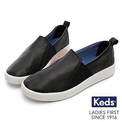Keds STUDIO 輕量彈力皮革休閒便鞋-黑色