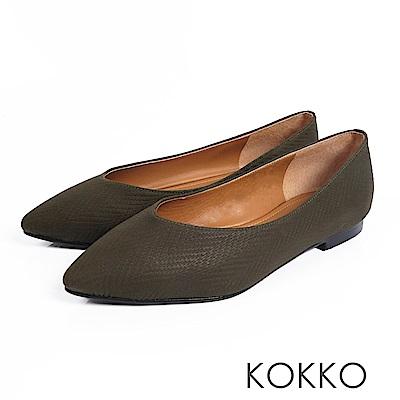 KOKKO - 超軟底復古尖頭真皮平底鞋-馬提尼橄欖