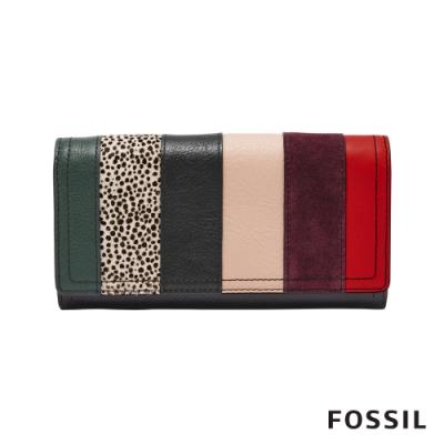 FOSSIL LOGAN 三折真皮拉鍊RFID長夾-狂野紋X多彩線條 SL7967191
