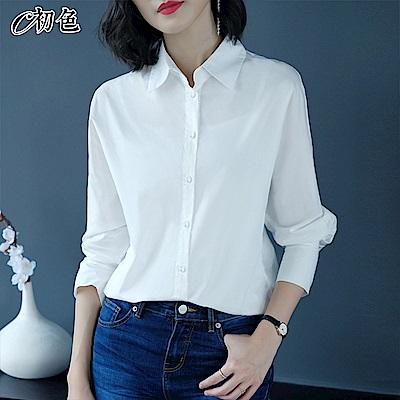 初色  純棉蝙蝠袖襯衫-白色-(M-2XL可選)
