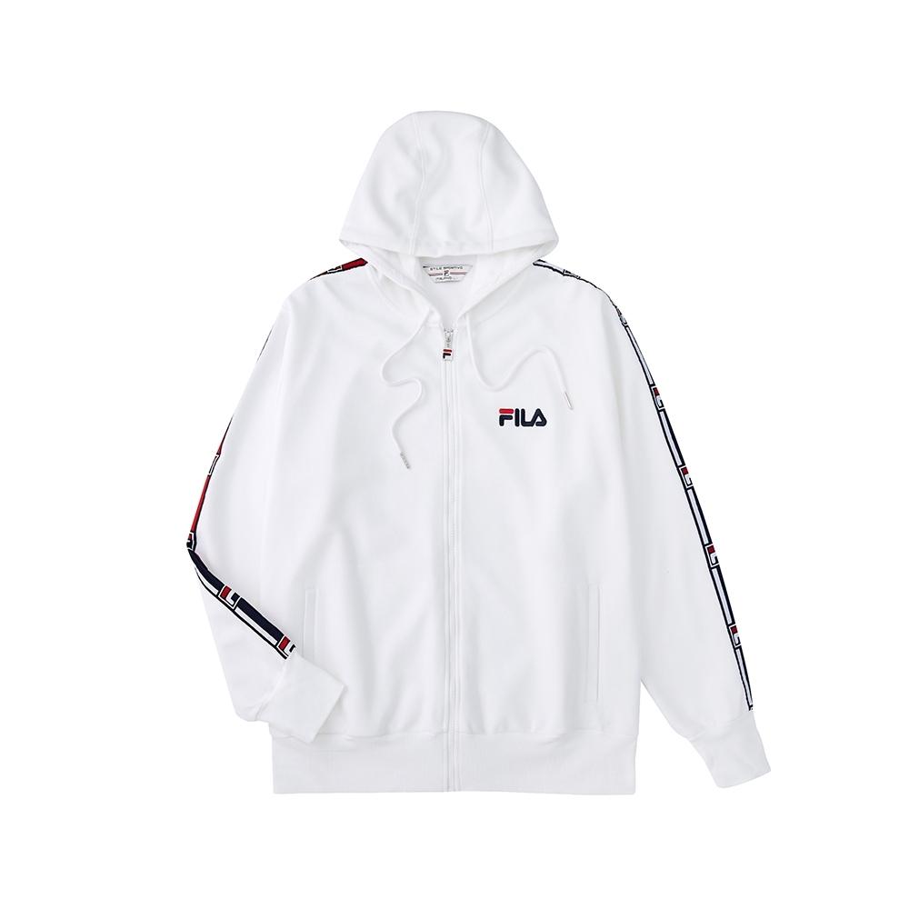 FILA #架勢新潮 針織連帽外套-白色 1JKV-1406-WT