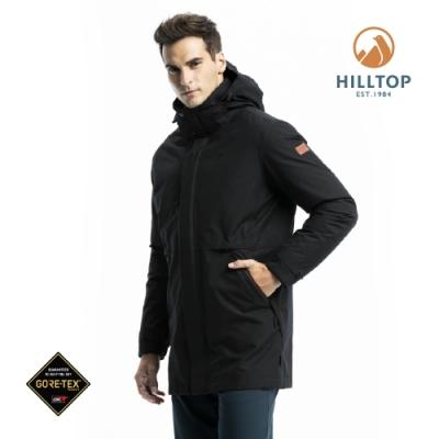 【hilltop山頂鳥】男款GORE-TEX二合一防水羽絨短大衣F21M56魚子醬黑